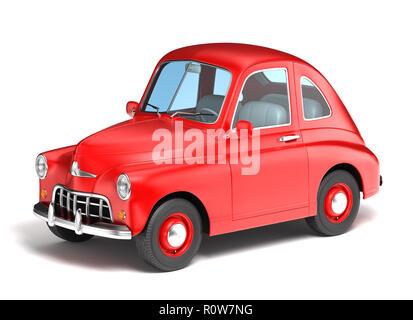 Voiture dessin animé rouge sur fond blanc. 3D illustration Photo Stock