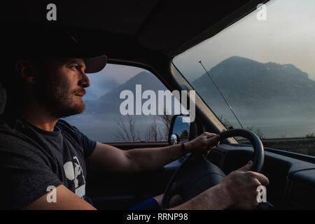 Man driving truck Photo Stock
