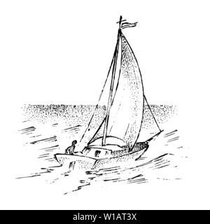 Voilier dans la mer, l'été l'aventure, vacances actives. Navire de mer, bateau marin ou nautique caravel. Le transport de l'eau dans l'océan pour marin et Photo Stock