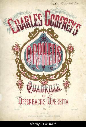 Couverture de la musique, Charles Godfrey's quadrille d'Orphée, après l'opérette d'Offenbach, Orphée aux Enfers. Date: milieu du 19ème siècle Photo Stock