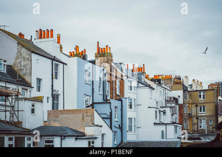 L'architecture britannique, façades, cheminées, Brighton, Angleterre Photo Stock