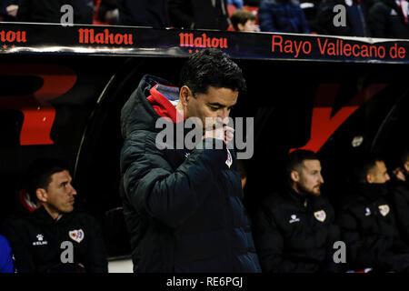 Madrid, Espagne. 20 Jan, 2019. La Liga football, Rayo Vallecano contre Real Sociedad ; Miguel Angel Sanchez MICHEL Entraîneur du Rayo Vallecano Credit : Action Plus Sport/Alamy Live News Photo Stock