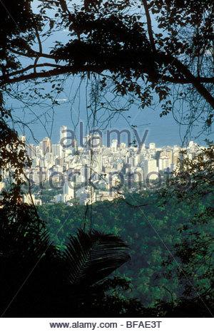 Rainforest à côté de l'étalement de la ville, Rio de Janeiro, Brésil Photo Stock