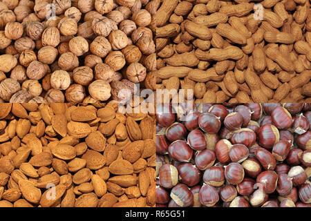 Arachides Noix amandes châtaignes Photo Stock