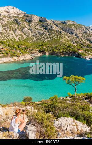France, Bouches du Rhône, Marseille, calanque de Sormiou, Parc National des Calanques Photo Stock