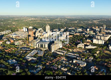 Vue aérienne de Sandton, Johannesburg, Afrique du Sud. Photo Stock