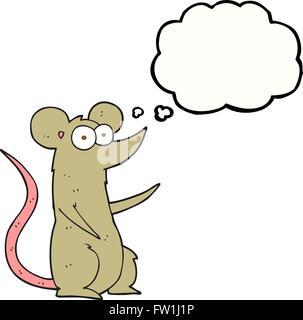 Freehand appelée bulle pensée cartoon souris dans l'amour Photo Stock