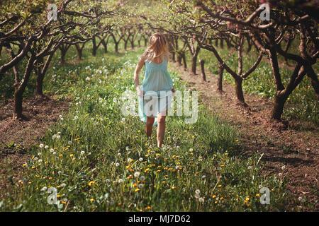 Femme marche parmi les fleurs . La paix et l'harmonie Photo Stock