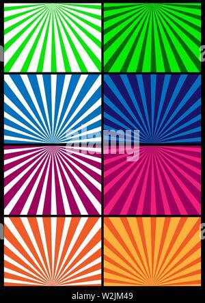 Rayons colorés rayonnent à partir du bord. Ensemble de milieux en spirale colorée pour la conception et la décoration Photo Stock