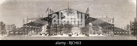 Une conception non réalisé pour le palais de cristal tel que présenté à la Commission royale par l'architecte français Hector Horeau, reproduit dans la publication française L'illustration. Photo Stock