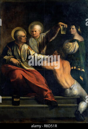 Saint Côme et Saint Damien, entre 1534 et 1540. On trouve dans la Collection de la Galleria Borghese, Rome. Photo Stock