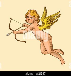 Cute Angels avec des flèches et arc. Les petites ailes avec Cupids esthétique avec des coeurs et des fleurs dans le ciel. Groupe d'enfants en monochrome gravé Photo Stock
