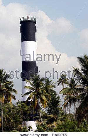LIGHT HOUSE À ANCHUTHENGU ZONES CÔTIÈRES, Kerala Photo Stock