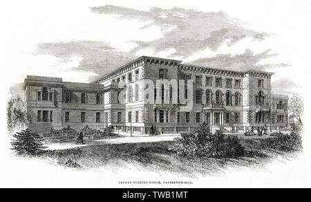L'École de travail orphelins pour les filles et les garçons à Hampstead, Londres. Date: 1861 Photo Stock