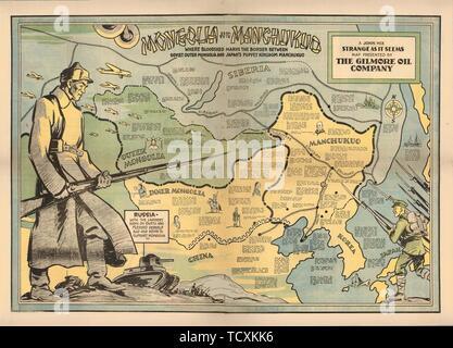 La Mongolie et le Mandchoukouo, 1936. Collection privée. Photo Stock