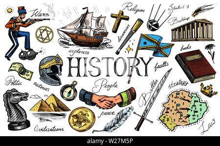 L'histoire de personnes, de la science et de l'éducation, la religion et les voyages, les découvertes et les vieux anciens symboles. Bateau rétro, d'échecs et de poignée de main, guerrier et Photo Stock