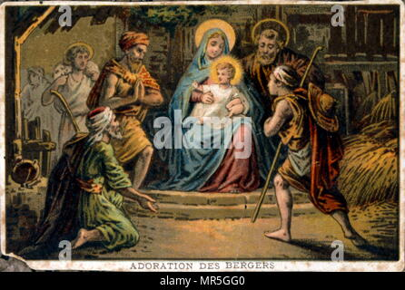 Chromolithographie 19ème siècle représentant l'adoration du Christ et de la Vierge par les bergers Photo Stock