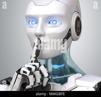 Robot avec le doigt sur les lèvres pour demander le silence. 3D illustration Photo Stock