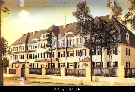 En 1913, les bâtiments Coswig, Landkreis Meißen, Coswig, Moritzburger Straße, Allemagne Photo Stock