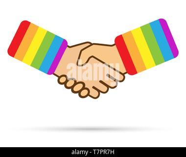 Serrer la main à la boutonnière de vêtements aux couleurs de la communauté LGBT, modèle plat Photo Stock