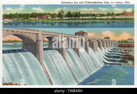 Columbus Zoo et O'Shaughnessy Dam, Columbus, Ohio, USA. Date: 1937 Photo Stock