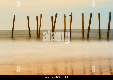 Cape May, New Jersey, USA, matin, Pier, sunrise Photo Stock