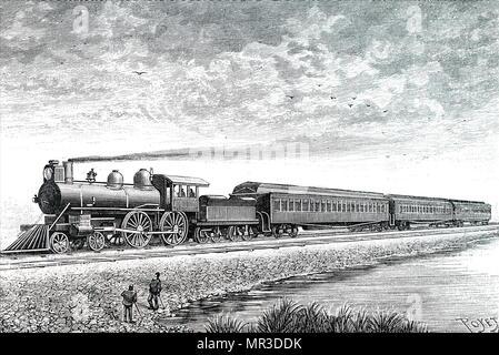 Illustration représentant une locomotive Express utilisé sur le New York Central and Hudson River Railroad. En date du 19e siècle Photo Stock