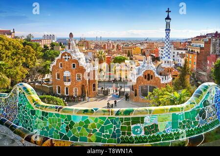Barcelone - Parc Guell d'Antoni Gaudi, Catalogne, Espagne Photo Stock