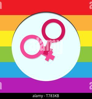 Deux symboles de la féminité dans un cercle blanc dans les couleurs de Photo Stock