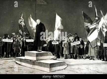 Remise des prix à l'occasion des Jeux Olympiques d'hiver 1932. Photo Stock