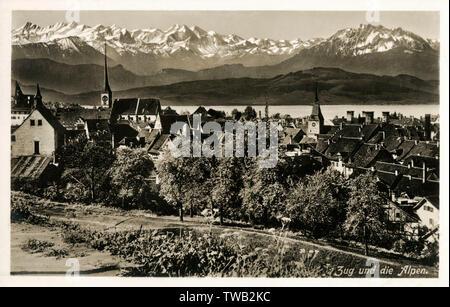 Suisse - Genève et la vue vers les Alpes sur le Zugersee. Date: vers 1920 Photo Stock