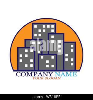 Logo de l'entreprise de l'immobilier, entreprises de construction, entreprises pour l'embauche du logement Photo Stock