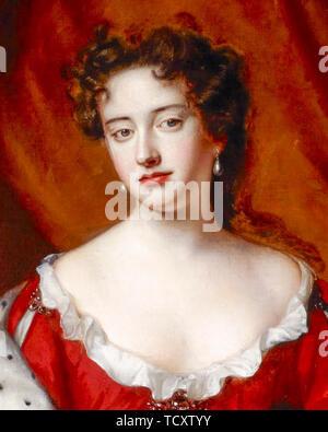 Willem Wissing, Queen Anne, quand la princesse du Danemark en tant que jeune femme, 1665 - 1714 portrait, peinture (détail), 1685 Photo Stock