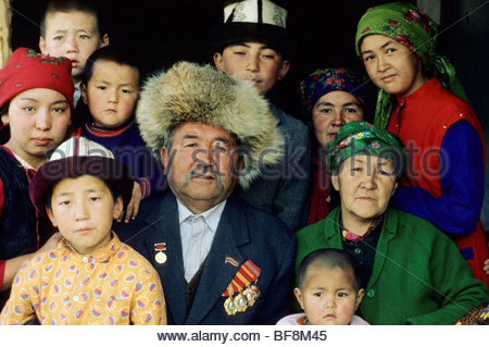 Famille kirghize, le Kirghizistan Photo Stock
