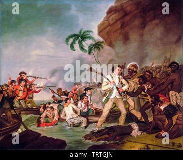 Décès du capitaine James Cook, peinture, 1783 Photo Stock