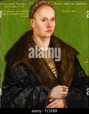 Lucas Cranach le Vieux, Christoph von Scheurl, 1481-1542, portrait, 1509 Photo Stock