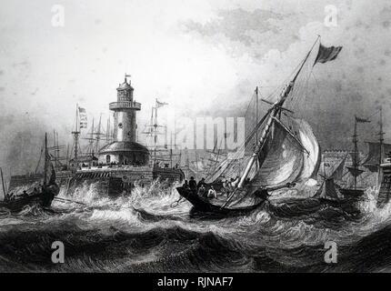 Une gravure représentant l'entrée du port de Ramsgate. En date du 19e siècle Photo Stock