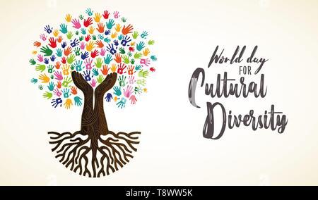 La Journée de la diversité culturelle l'illustration de la carte. Arborescence constituée de main humaine imprime ensemble pour l'amour et la paix concept. Photo Stock