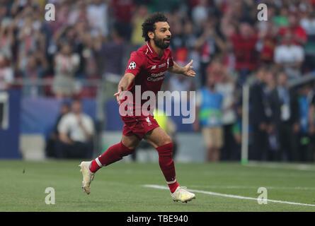 Madrid, Espagne. 01 Juin, 2019. Mohamed Salah célèbre but, Tottenham Hotspur FC V Liverpool FC, 2019 Allstar Crédit: photo library/Alamy Live News Crédit: Allstar Photo Library/Alamy Live News Photo Stock