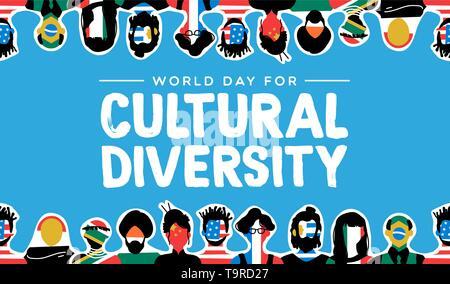 La diversité culturelle jour carte de souhaits illustration. Groupe social avec divers drapeaux de pays. Comprend les personnes de l'Asie, l'Amérique, l'Europe a Photo Stock