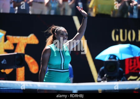 Melbourne Park, Melbourne, Australie. 19 Jan, 2019. Open de tennis d'Australie, jour 6 ; Serena William des USA célèbre la fête la victoire contre Dayana Yastremska de Ukraine Credit : Action Plus Sport/Alamy Live News Photo Stock