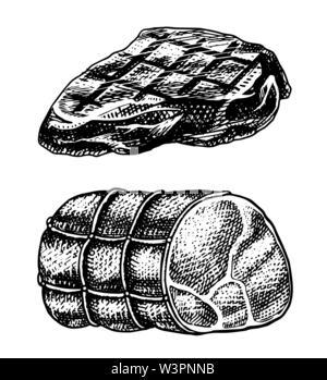 Grillades de viande de boeuf, de porc ou de boeuf Barbecue Barbecue. L'alimentation dans un style vintage. Modèle de menu de restaurant, emblèmes ou badges. Croquis dessinés à la main. Photo Stock