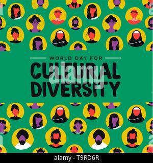 La diversité culturelle jour carte de souhaits illustration. Divers Groupe de personnes musulmanes comprend, africaine, asiatique et américaine. Photo Stock