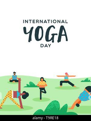 Journée Internationale de Yoga illustration de diverses personnes faire de l'exercice en parc extérieur. Photo Stock