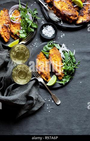 Le style indien du poisson frit Photo Stock