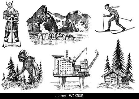 La culture de la Norvège. Ensemble de symboles nationaux. Viking et les montagnes, le ski et l'architecture, la production de pétrole et une maison dans les bois, et de fabuleuses goblin Photo Stock