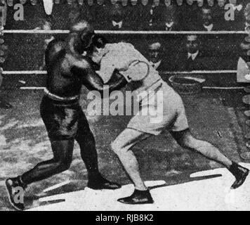 Match de boxe, Sam Langford v Loi Lang, Londres, 21 février 1911. Langford a gagné dans la 6ème manche. Photo Stock