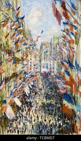 Claude Monet, La Rue Montorgueil à Paris, la célébration du 30 juin 1878, peinture, 1878 Photo Stock