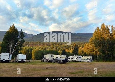 Camping à la belle Canadian Rockies, Fraser-Fort Photo Stock