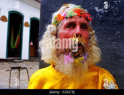 L'homme papillon à Paraty - Rio de Janeiro - Brésil Photo Stock
